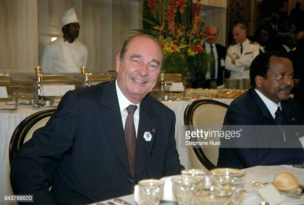 President Chirac and President Biya attending the State dinner in the Presidential Palace of Yaounde
