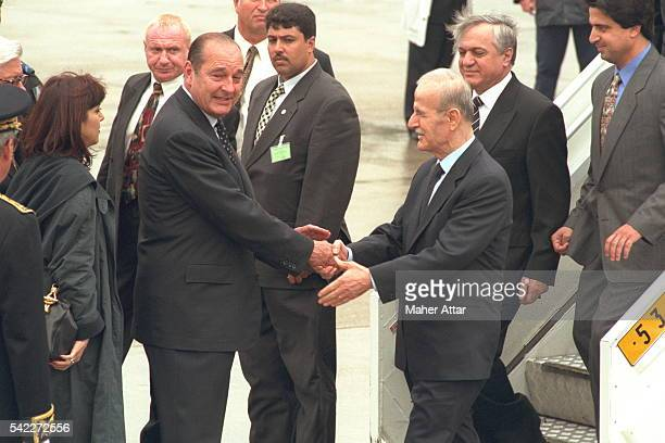 President Chirac welcomes Hafez el Assad on his arrival at Orly airport