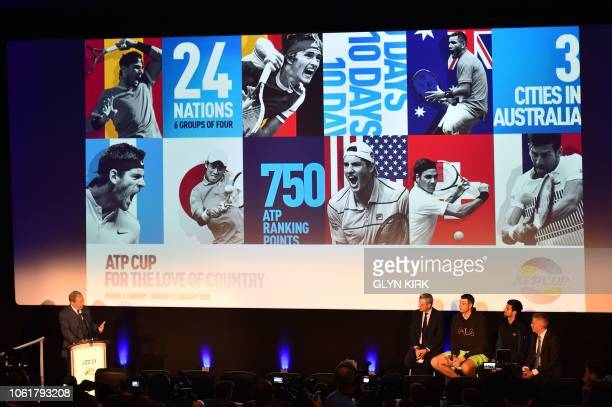 ATP President Chris Kermode US player John Isner and Serbia's Novak Djokovic speak at the launch of the new ATP cup tournament on the sidelines of...