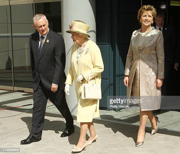 GAA president Christy Cooney Queen Elizabeth II and President of Ireland Mary McAleese visit Croke Park on the second day of the state visit to...