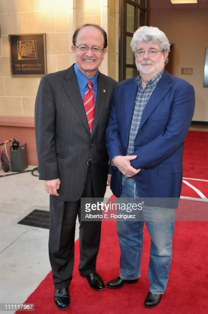 USC president CL Max Nikias and director/producer George Lucas attend the dedication of the 20th Century Fox sound stage at the USC School of...
