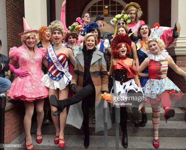 President Class of 2020 Eli Russell Cast VP Class of 2020 Scott Kall and Elizabeth Banks participate in a parade as Hasty Pudding Theatricals Honors...