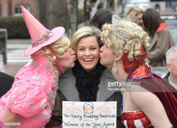 President Class of 2020 Eli Russell Elizabeth Banks and Cast VP Class of 2020 Scott Kall celebrate as Hasty Pudding Theatricals Honors Elizabeth...