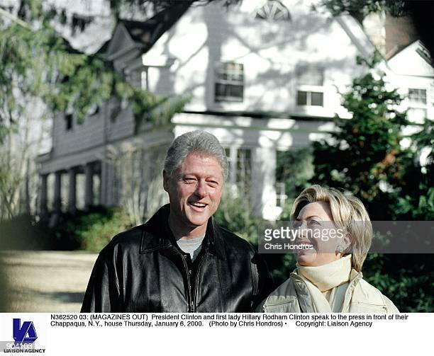 President Clinton and first lady Hillary Rodham Clinton speak to the press in front of their Chappaqua NY house Thursday January 6 2000