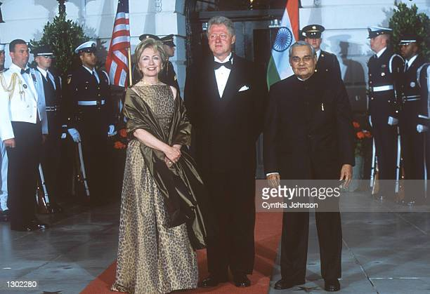 President Clinton and First Lady Hillary with Prime Minister Atal Bihari Vajpayee at a White House state dinner September 17, 2000 in Washington, DC.