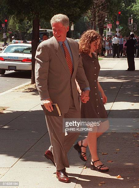 President Clinton and his daughter Chelsea arrive at Foundry Methodist Church in Washington DC 05 July AFP PHOTO/Chris Kleponis