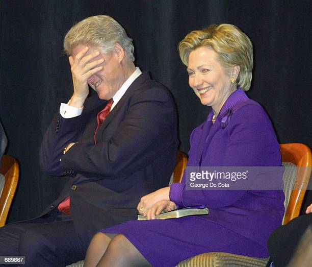 President Clinton laughs with first lady Senator Hillary Rodham Clinton during remarks at the New York State Democratic Committee Tribute to Senator...