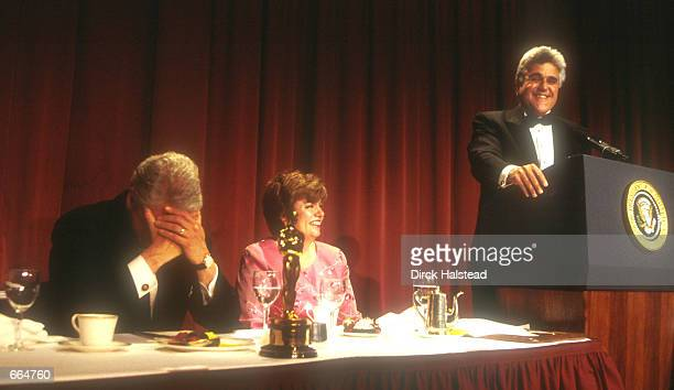 President Clinton listens to Jay Leno at the White House Correspondent's Dinner April 29 2000 in Washington DC
