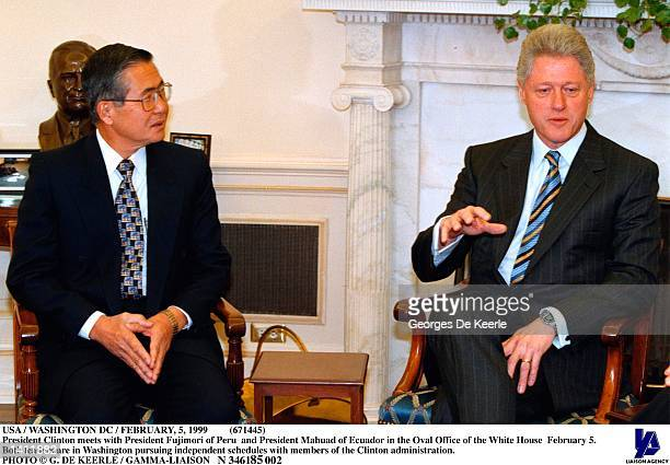 President Clinton meets with President Fujimori of Peru and President Mahuad of Ecuador in the Oval Office of the White House February 5. Both...