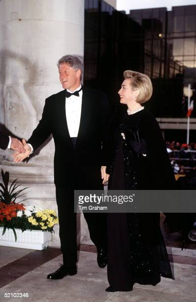 President Clinton Of America And His Wife Hillary Arriving At The Guildhall In Portsmouth