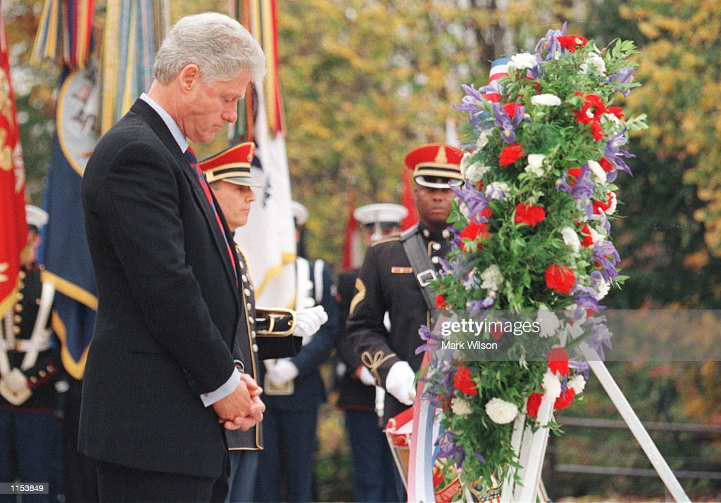 President Clinton at a Veteran's Day ceremony : News Photo