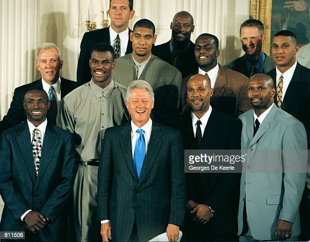 President Clinton poses with the 1999 NBA champions San Antonio Spurs during a ceremony in the East Room of the White House Tuesday Sept 7 in...