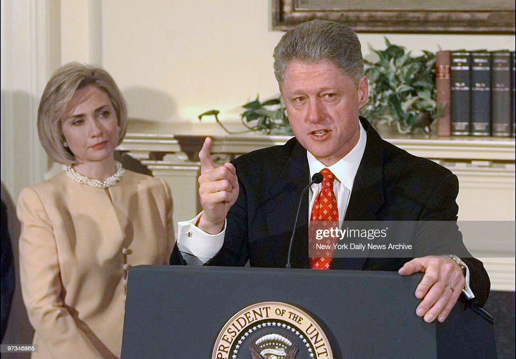President Clinton with First Lady Hillary Rodham Clinton speaking on Monica Lewinsky scandal in the Roosevelt Room at the White House.