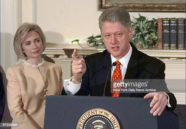 President Clinton with First Lady Hillary Rodham Clinton speaking on Monica Lewinsky scandal in the Roosevelt Room at the White House