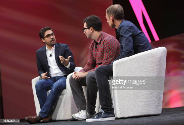 President CoFounder Wayfarer Entertainment Ahmed Musiol CoFounders CoCEOs of Harry's Inc Jeff Raider and Andy KatzMayfield speak onstage during The...