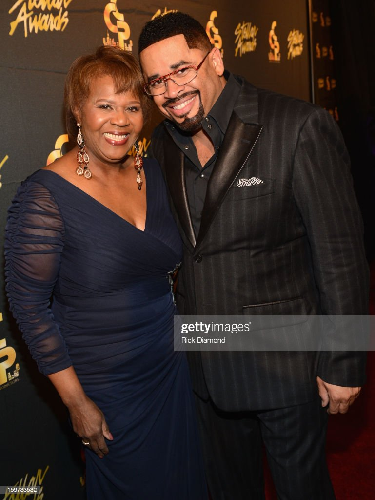 President & COO of Central City Productions Erma Davis and Byron Cage arrive to the 28th Annual Stellar Awards at Grand Ole Opry House on January 19, 2013 in Nashville, Tennessee.