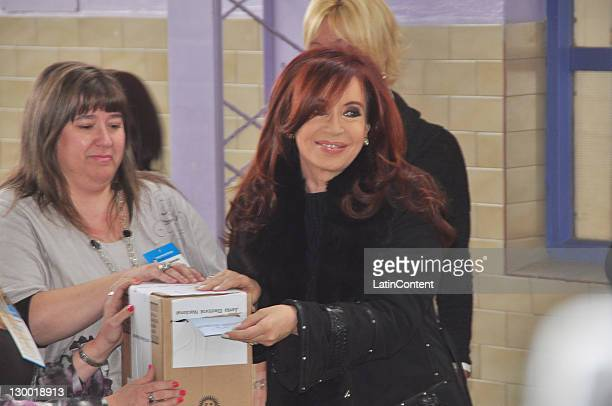 President Cristina Fernandez votes for president during the Presidential elections 2011 at Nuestra Señora de Fatima school on October 23 2011 in Rio...