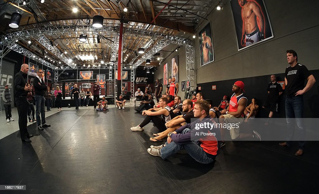 President Dana White addresses cast members after the final day of filming for season seventeen of The Ultimate Fighter at the UFC Training Center on December 11, 2012 in Las Vegas, Nevada.
