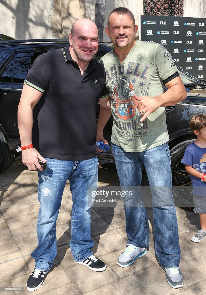 President Dana White (L) and Former UFC Fighter Chuck Liddell (R) attend the 9th annual Stand Up For Skateparks benefit at Ron Burkle's Green Acres Estate on October 7, 2012 in Beverly Hills, California.