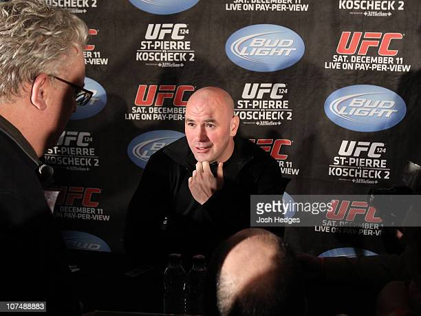 President Dana White at the UFC 124 pre-fight press conference at the Bell Centre on December 9, 2010 in Montreal, Quebec, Canada.