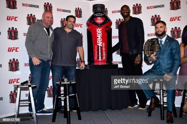 UFC President Dana White Cofounder of BodyArmor Mike Repole BodyArmor investor Kobe Bryant and UFC Bantamweight Champion Cody Garbrandt unveil a new...