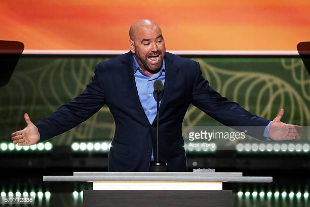 President Dana White delivers a speech on the second day of the Republican National Convention on July 19 2016 at the Quicken Loans Arena in...