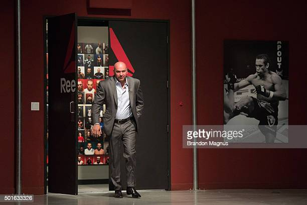 President Dana White enters the TUF gym during the filming of The Ultimate Fighter Team McGregor vs Team Faber at the UFC TUF Gym on August 26 2015...