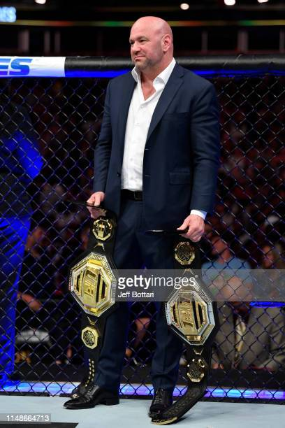 President Dana White holds the Legacy Championship belts during the UFC 238 event at the United Center on June 8, 2019 in Chicago, Illinois.