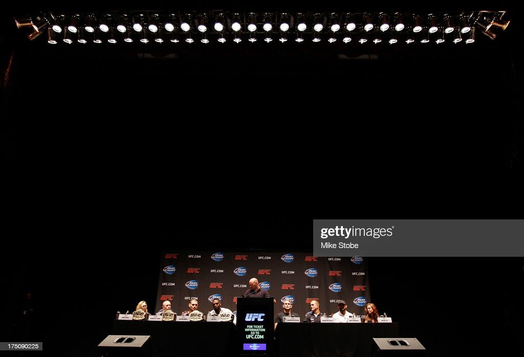 UFC president Dana White hosts a press conference live with UFC heavyweight champion Cain Velasquez, Junior Dos Santos, UFC light heavyweight champion Jon Jones, Alexander Gustafsson, UFC welterweight champion Georges St-Pierre, Johny Hendricks, UFC women's bantamweight champion Ronda Rousey and Miesha Tate at Beacon Theatre on July 31, 2013 in New York City.