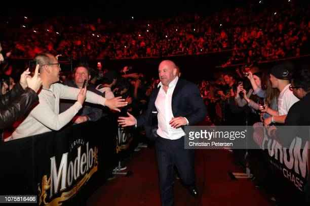 President Dana White interacts with fans during the UFC 232 event inside The Forum on December 29, 2018 in Inglewood, California.