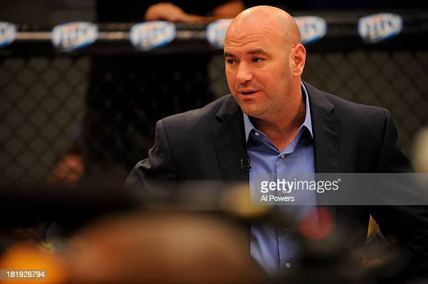 President Dana White introduces the bout between Jessica Rakoczy and Roxanne Modafferi in their preliminary fight during filming of season eighteen...