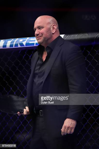 President Dana White looks on during the UFC 225 Whittaker v Romero 2 event at the United Center on June 9 2018 in Chicago Illinois