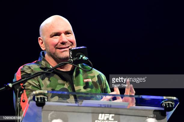 President Dana White speaks during the press conference prior to UFC Fight Night Cejudo v Dillashaw held at the Music Hall of Williamsburg on January...