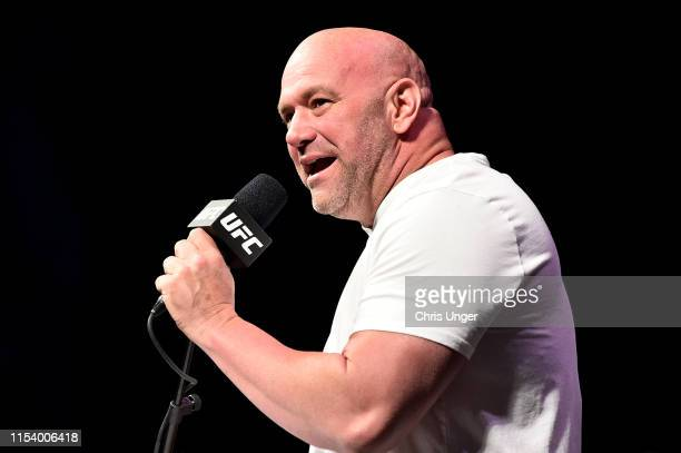 President Dana White speaks to the media during the UFC seasonal press conference at T-Mobile Arena on July 5, 2019 in Las Vegas, Nevada.