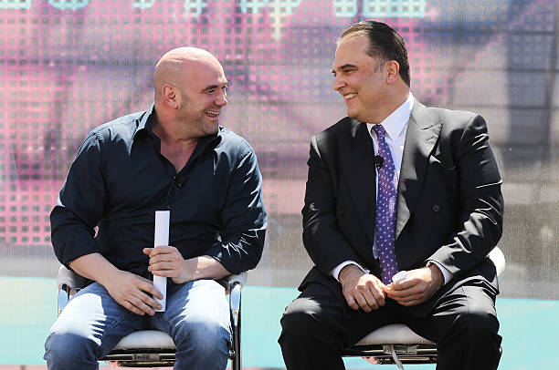 President Dana White speaks with Golden Boy Promotions CEO Richard Schaefer during a groundbreaking for a USD 375 million 000-seat sports and...