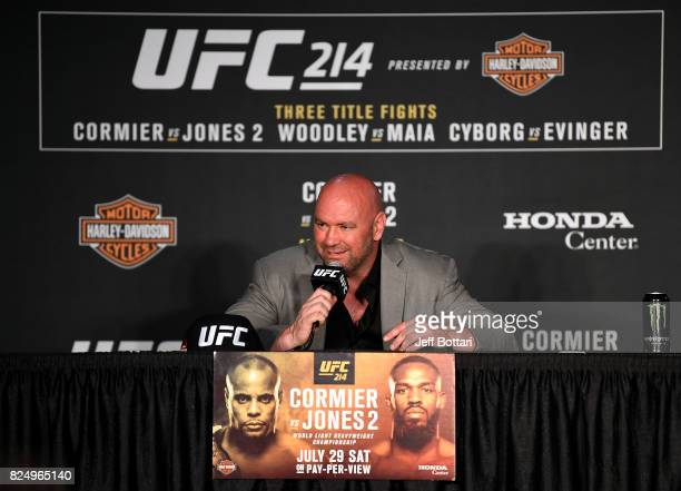 President Dana White speaks with the media during the UFC 214 post fight press conference inside the Honda Center on July 29 2017 in Anaheim...