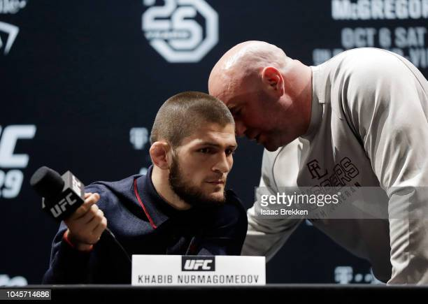 President Dana White speaks with UFC lightweight champion Khabib Nurmagomedov during a press conference for UFC 229 at Park Theater at Park MGM on...