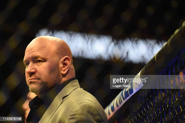 President Dana White stands in the ring during the UFC 236 event at State Farm Arena on April 13, 2019 in Atlanta, Georgia.