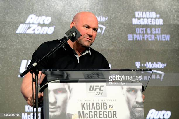 President Dana White takes questions from the media during the UFC 229 Press Conference at Radio City Music Hall on September 20 2018 in New York City