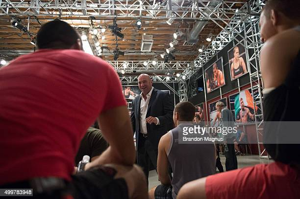 President Dana White talks to the fighters during the filming of The Ultimate Fighter Team McGregor vs Team Faber at the UFC TUF Gym on August 19...