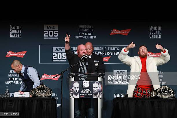 UFC president Dana White thanks the crowd after the UFC 205 press conference at The Theater at Madison Square Garden on November 10 2016 in New York...
