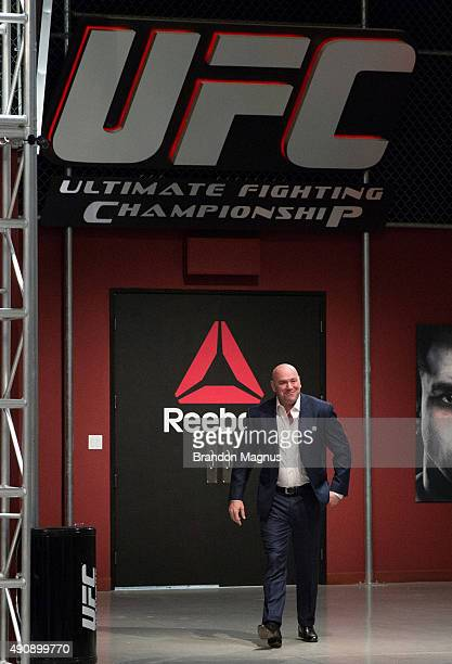 President Dana White walks into the TUF gym during the filming of The Ultimate Fighter Latin America Team Gastelum vs Team Escudero on April 10 2015...