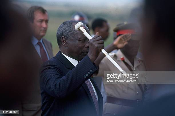 President Daniel Arap Moi when he set fire to tusks worth 3 million US dollars confiscated from poachers by Kenyan Game Wardens