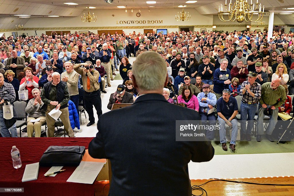 President David Keene is introduced to supporters during the Delaware State Sportsmen's Association Second Amendment rally at the Modern Maturity Center on January 20, 2013 in Dover, Delaware. U.S. President Barack Obama recently unveiled a package of gun control proposals that include universal background checks and bans on assault weapons and high-capacity magazines.