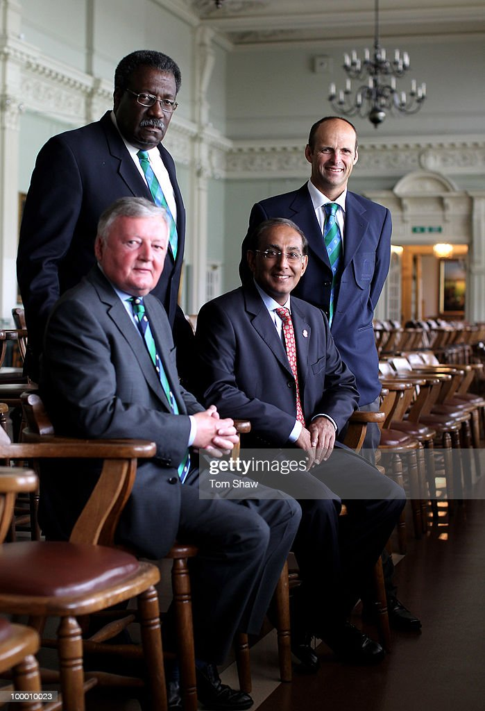 ICC President David Morgan, Clive Lloyd the Chairman of the Cricket Committee, Haroon Lorgat the CEO and new member Gary Kirsten pose for a picture in the long room during the ICC Cricket Committee Meeting at Lords on May 20, 2010 in London, England.