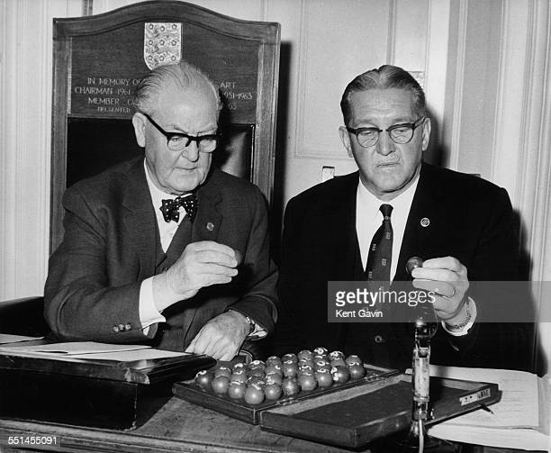 President David Wiseman and Chairman Joe Mears making the draw for the third round of the FA Cup, at the Football Association Headquarters at...