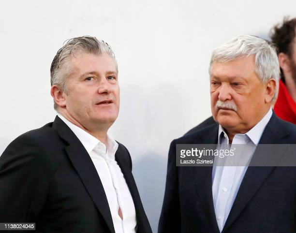 President Davor Suker of Croatian Football Federation and president Sandor Csanyi of Hungarian Football Federation converse prior to the 2020 UEFA...