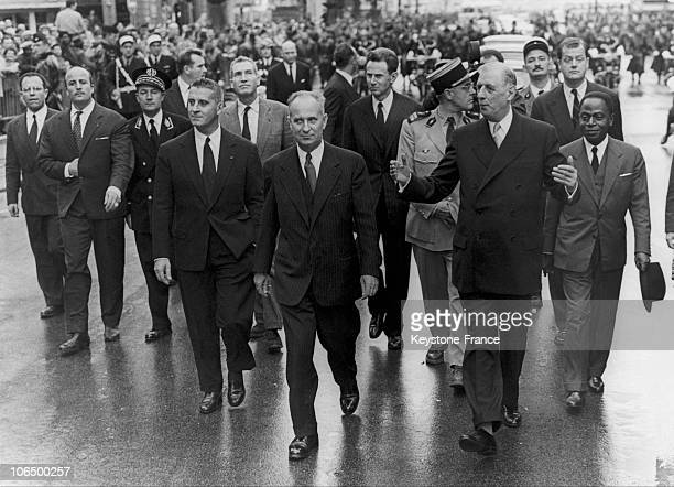 President De Gaulle And The Mayor Of Marseille Gaston Deferre Going Down The 'Canebiere' In October 1958