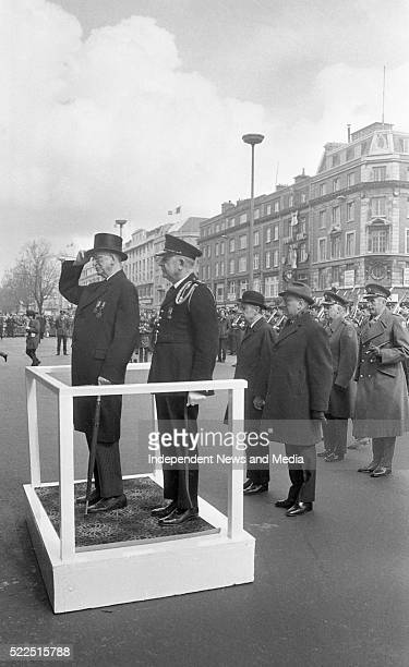 President De Valera taking salute at the G P O Also behind him are An Taoiseach Mr Liam Cosgrave Minister for Defence Mr Patrick Donegan and Chief of...