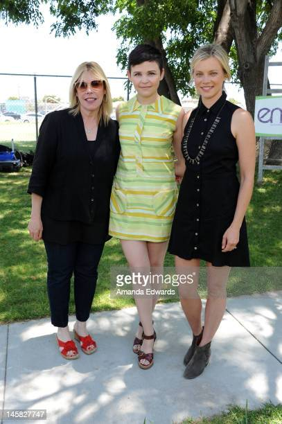 EMA President Debbie Levin actresses Ginnifer Goodwin and Amy Smart attend The Environmental Media Association's 3rd Annual Garden Luncheon at Carson...